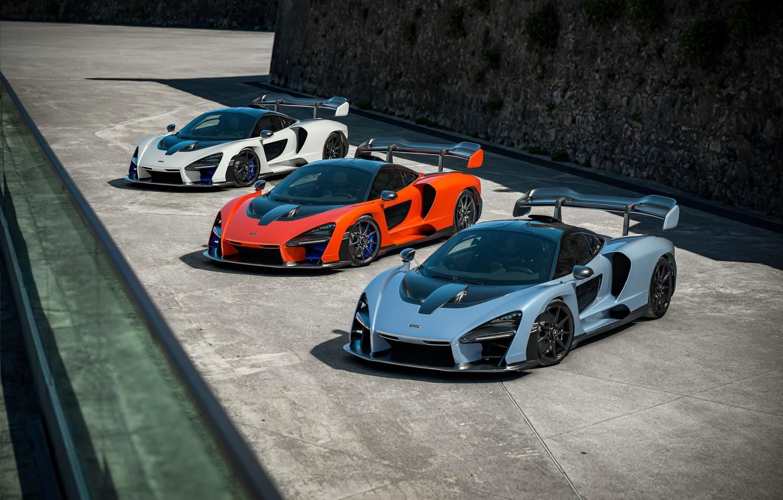 Photo wallpaper McLaren, supercars, 2018, Senna, Victory Grey, Delta Red, Pure White