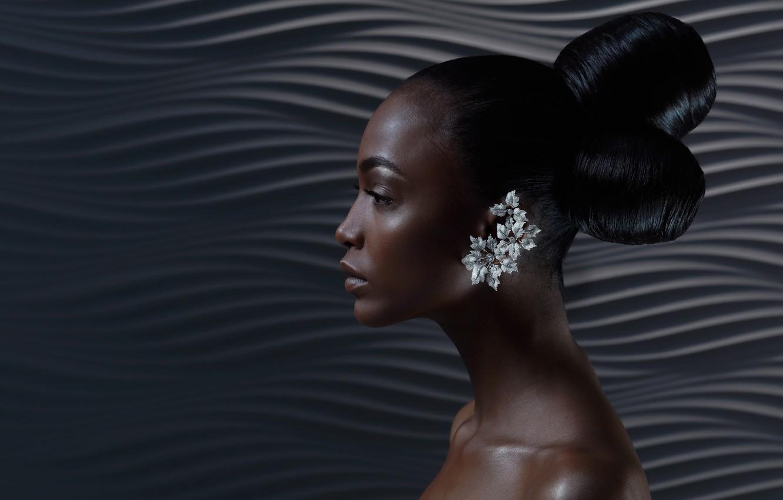 Photo wallpaper model, earrings, profile, black