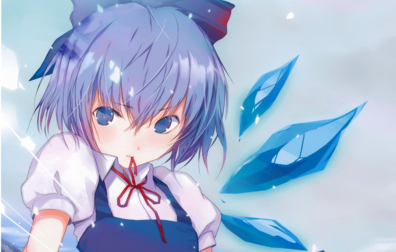 Photo wallpaper crystals, blue hair, Cirno, red ribbon, haruaki fuyuno, project East, ice fairy, touhou project