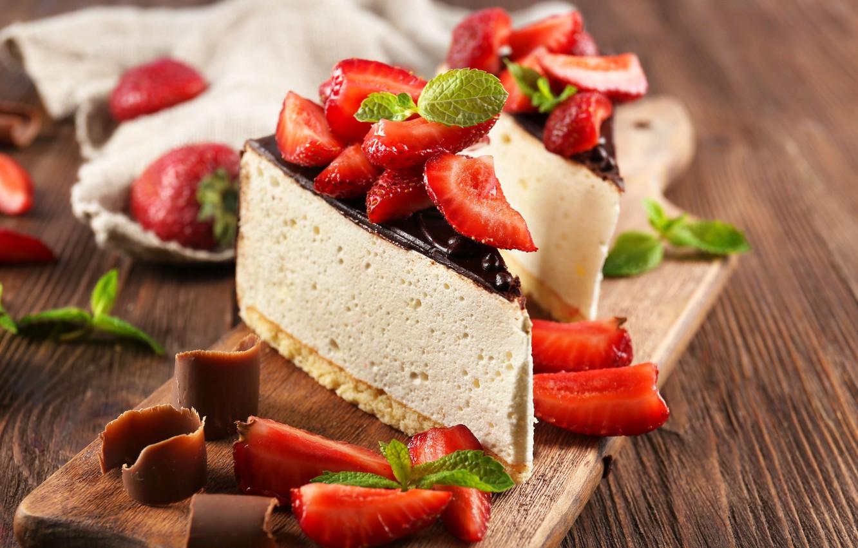 Photo wallpaper berries, chocolate, strawberry, dessert, Strawberry, Chocolate, Cake, souffle, cutting Board, Dessert