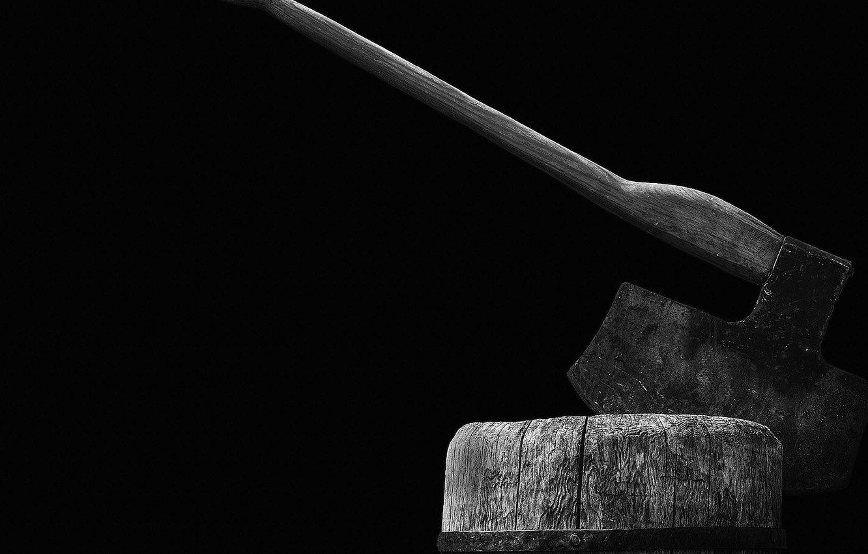 Photo wallpaper axe, wood, rust