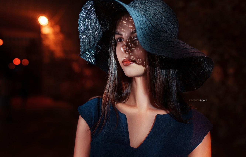 Photo wallpaper portrait, Girl, hat, dress, shoulders, Alexander Drobkov-Light, Tatiana Svetlova