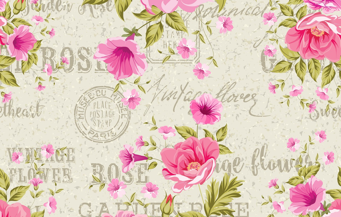 Photo wallpaper flowers, background, roses, vintage, composition