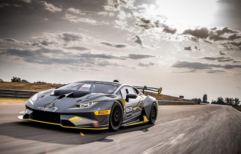 Photo wallpaper speed, Lamborghini, racing car, 2018, Huracan, Super Trophy Evo