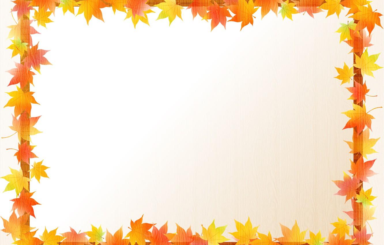 Photo wallpaper leaves, frame, postcard, template, blank
