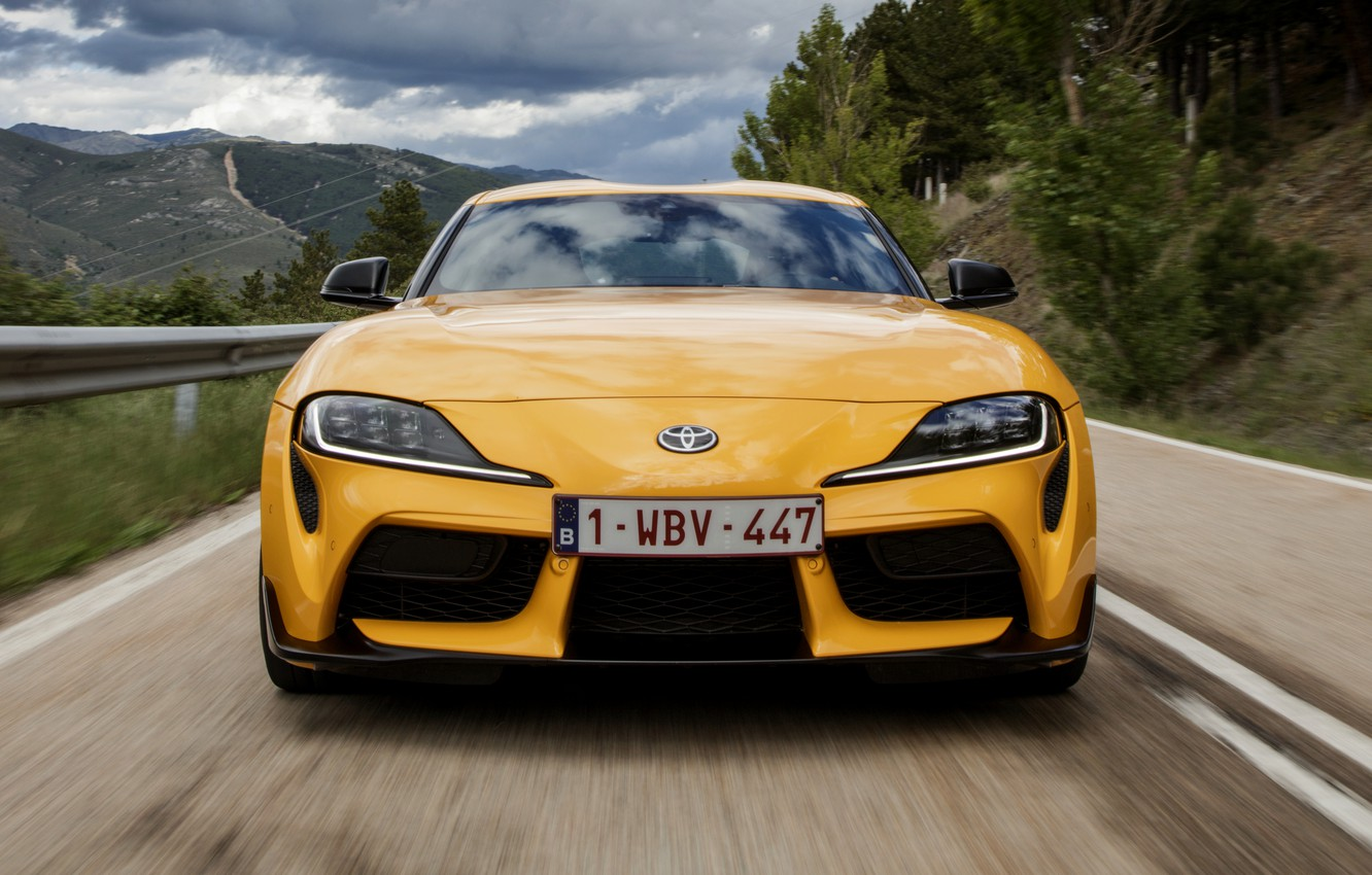 Photo wallpaper road, yellow, coupe, Toyota, front view, Supra, the fifth generation, mk5, double, 2019, GR Above, …