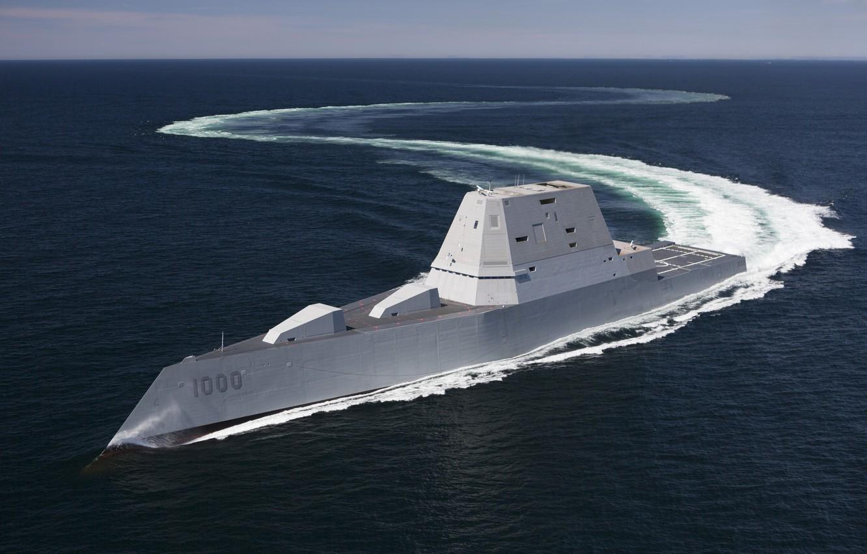 Photo wallpaper Sea, Wave, Iron, DDG-1000, US NAVY, USS Zumwalt