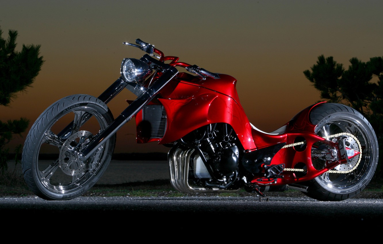 Photo wallpaper Red, Chopper, Custom, Motorcycle