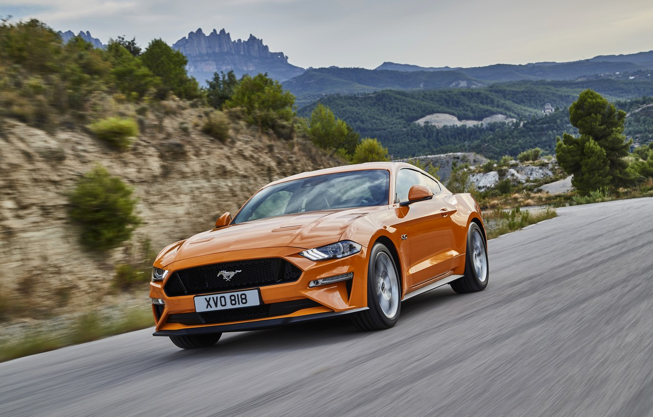 Photo wallpaper road, forest, asphalt, trees, mountains, orange, hills, coupe, Ford, shrub, 2018, Mustang GT