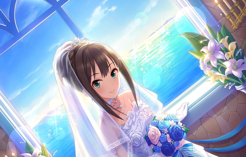 Photo wallpaper sea, Lily, horizon, window, the bride, Diadema, veil, wedding dress, blue sky, the bride's bouquet, …