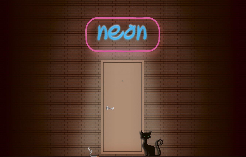 Photo wallpaper cat, wall, smoke, neon, cigarette, sign, black cat, brick wall, neon sign, brickwork, Neon black …