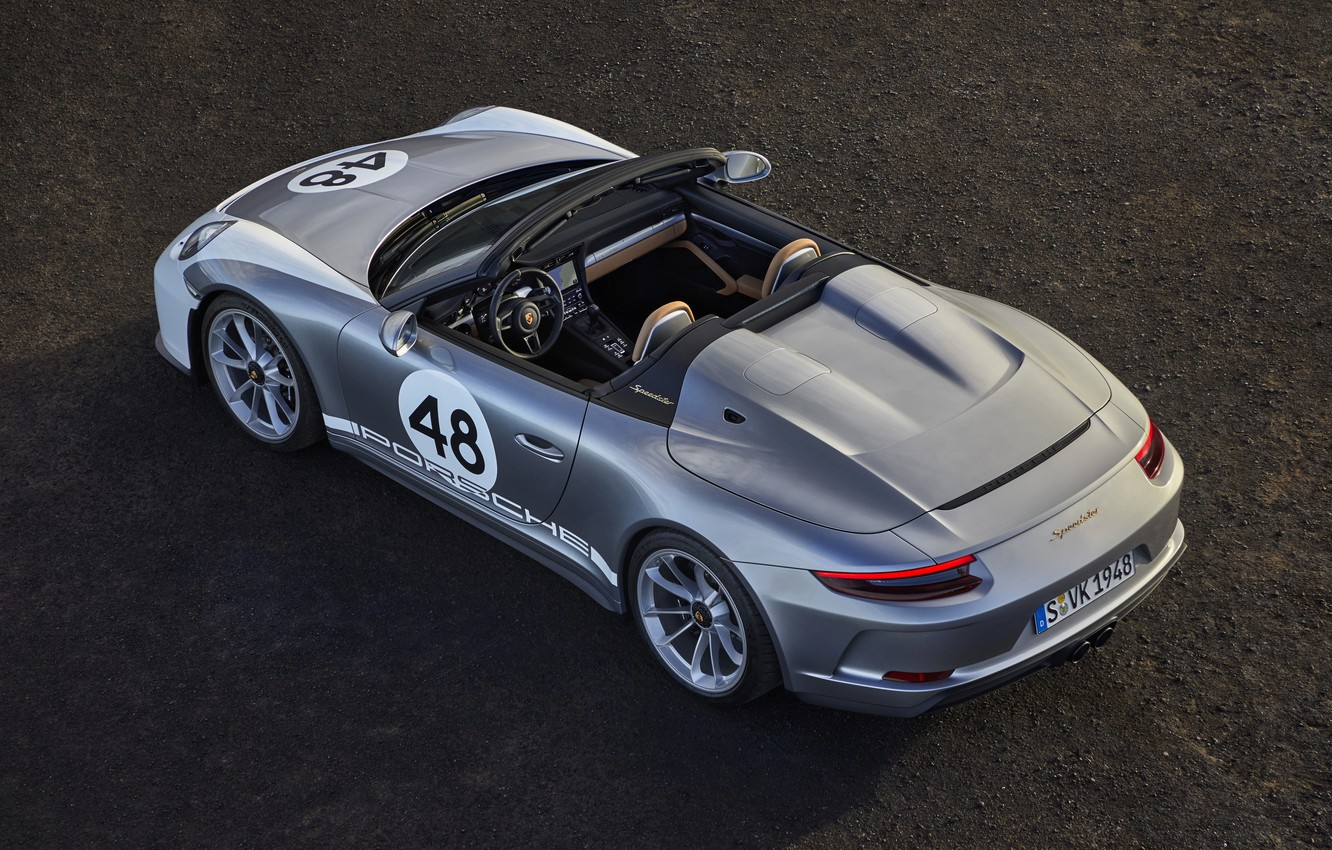 Photo wallpaper asphalt, 911, Porsche, top, Speedster, 991, 2019, gray-silver, 991.2