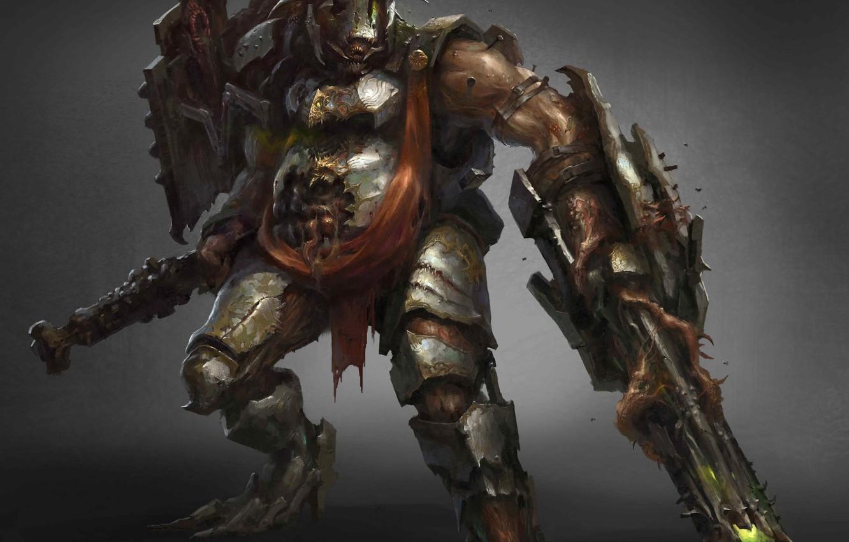 Photo wallpaper weapons, being, warrior, armor, fantasy art, Drock Nicotine
