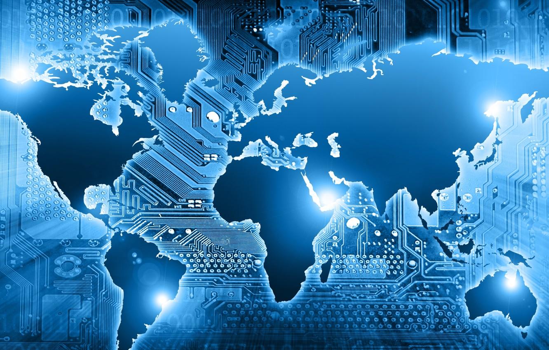 Photo wallpaper world, map, technology, circuits