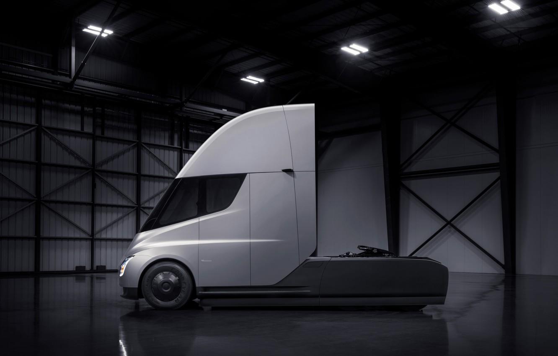 Photo wallpaper truck, Tesla, tractor, electric, Semi