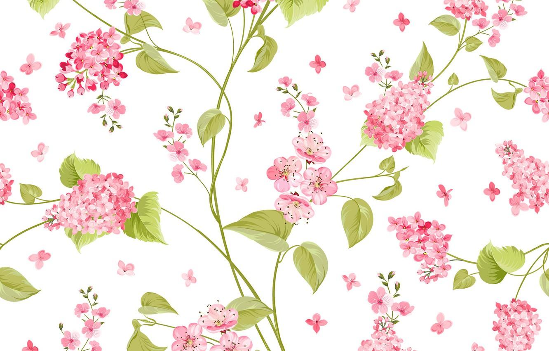 Photo wallpaper flowers, pattern, vector, texture, white background, flower