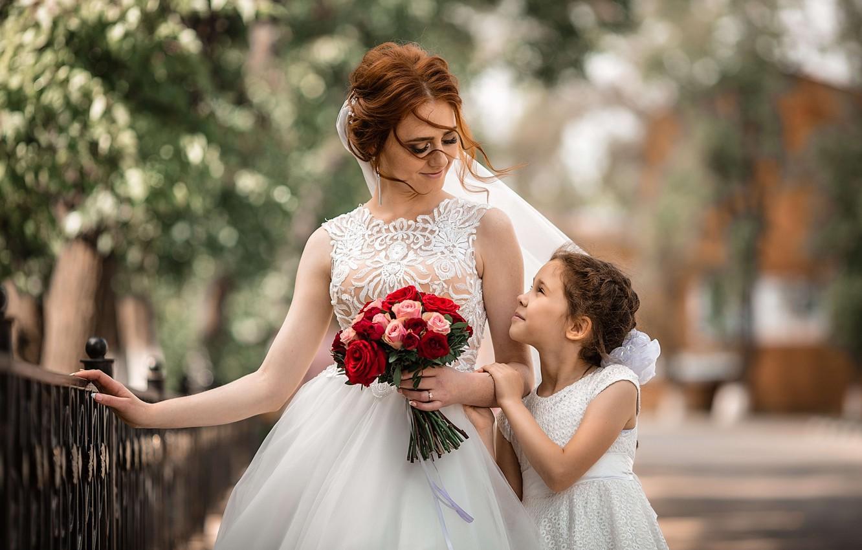 Photo wallpaper flowers, woman, bouquet, girl, the bride, mom, child, wedding, daughter, mother, Vladimir Vasiliev