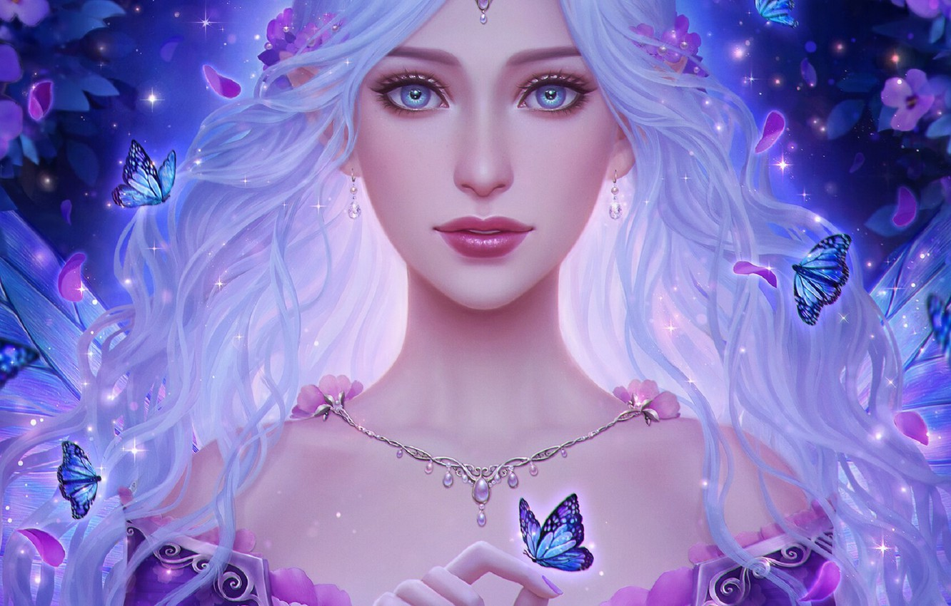 Photo wallpaper look, girl, decoration, butterfly, hair