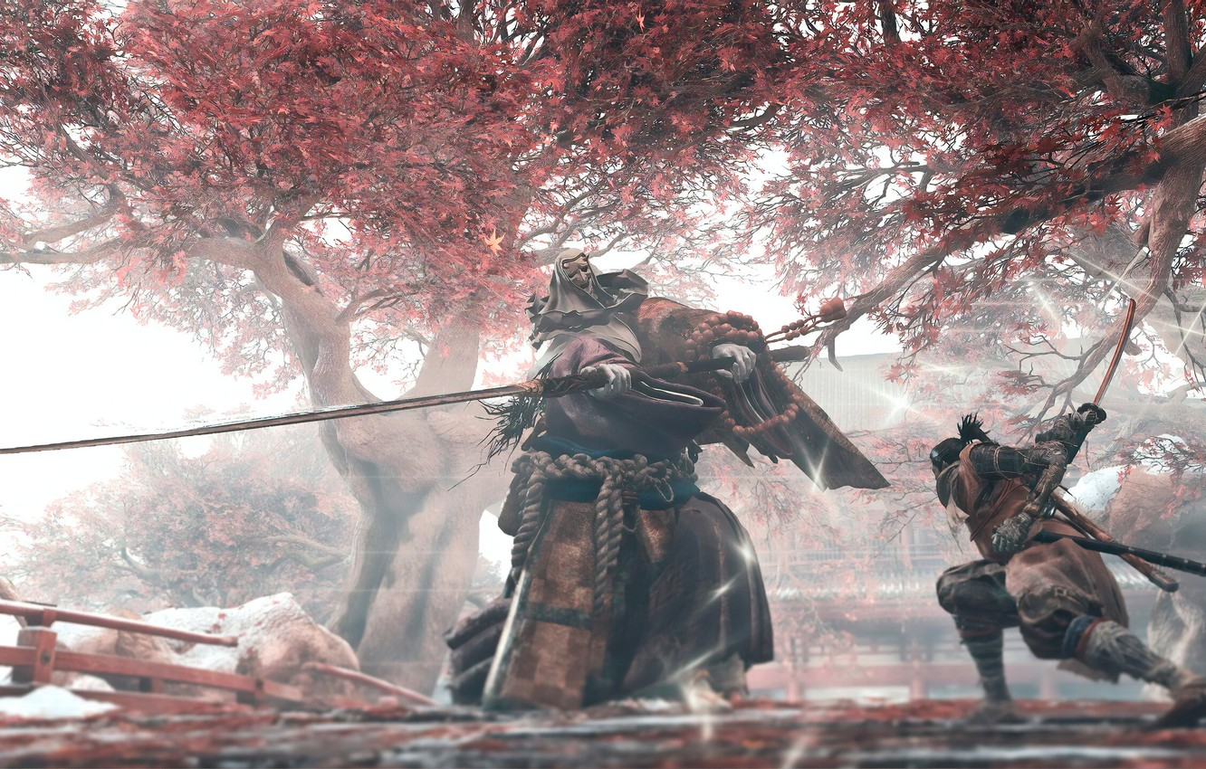 Photo wallpaper leaves, the game, Japan, wolf, sword, battle, sword, art, action, prosthesis, the fight, wolf, samurai, …