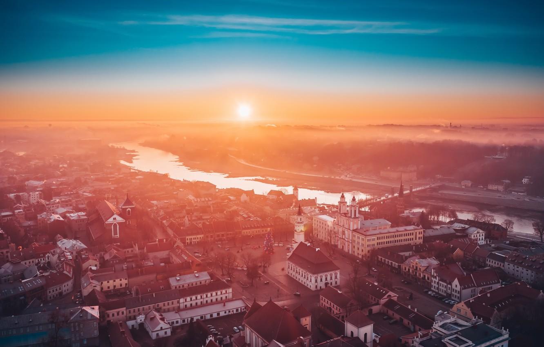 Photo wallpaper fog, morning, Lithuania, Kaunas
