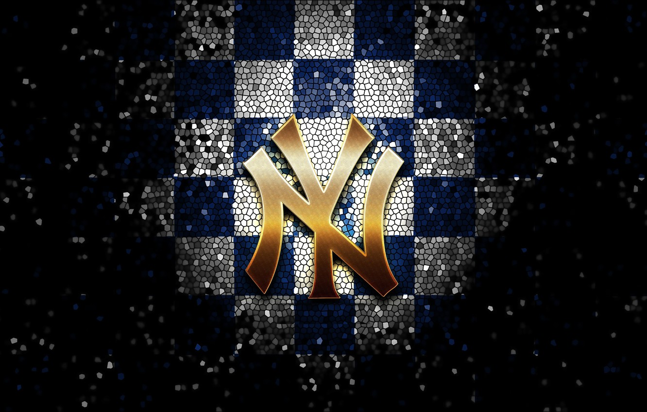 Wallpaper Wallpaper Sport Logo Baseball Glitter Checkered Mlb New York Yankees Images For Desktop Section Sport Download