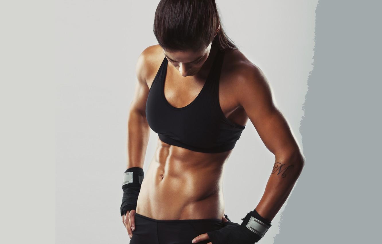 Photo wallpaper brunette, pose, fitness body