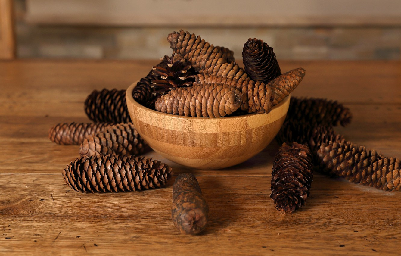 Photo wallpaper pine cones, table top, wood table, wood bowl