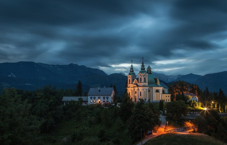 Photo wallpaper landscape, mountains, clouds, nature, home, the evening, village, Church, Slovenia, Tunjice, Tunica