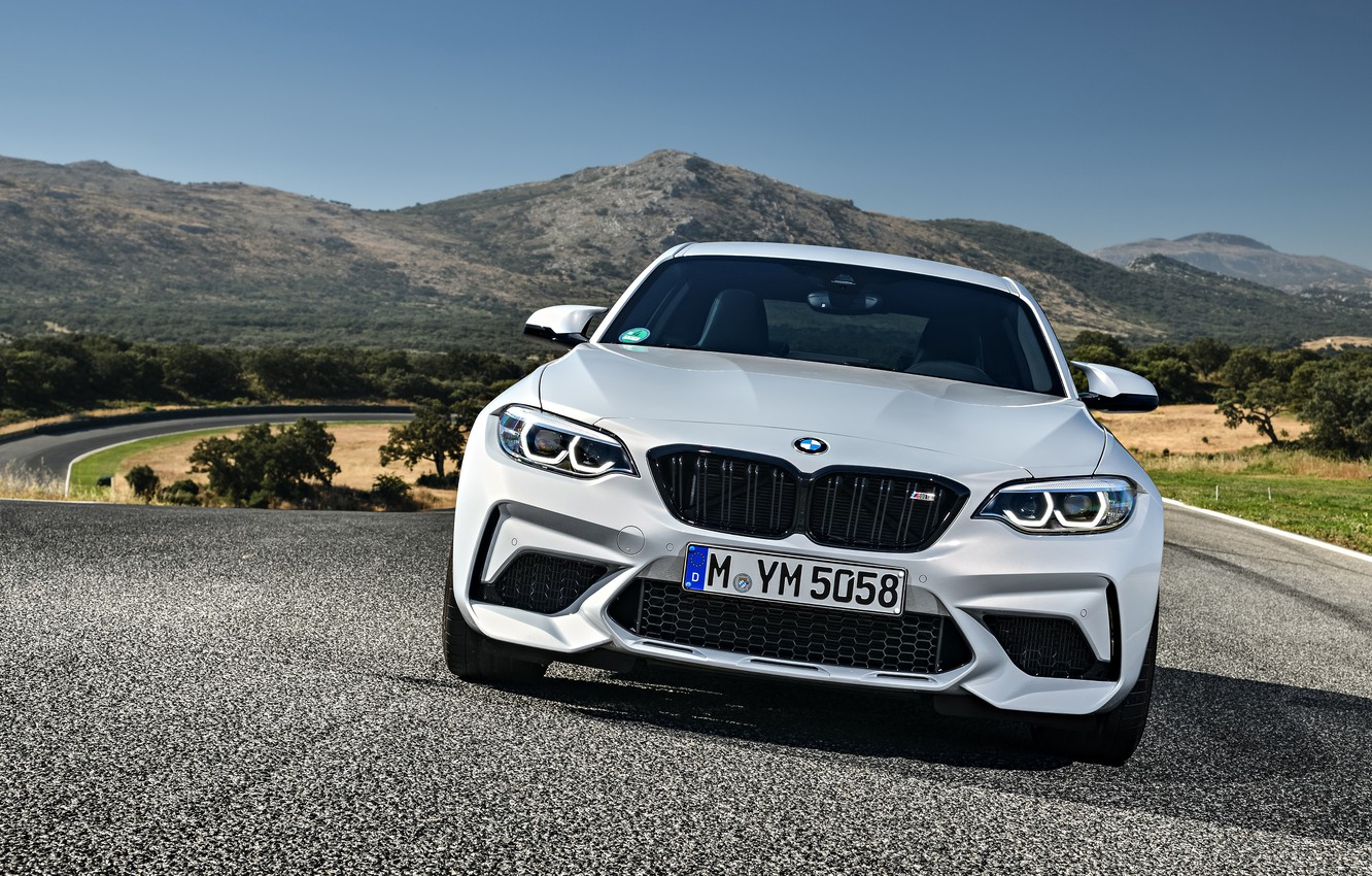 Photo wallpaper mountains, coupe, track, BMW, the front, 2018, F87, M2, M2 Competition