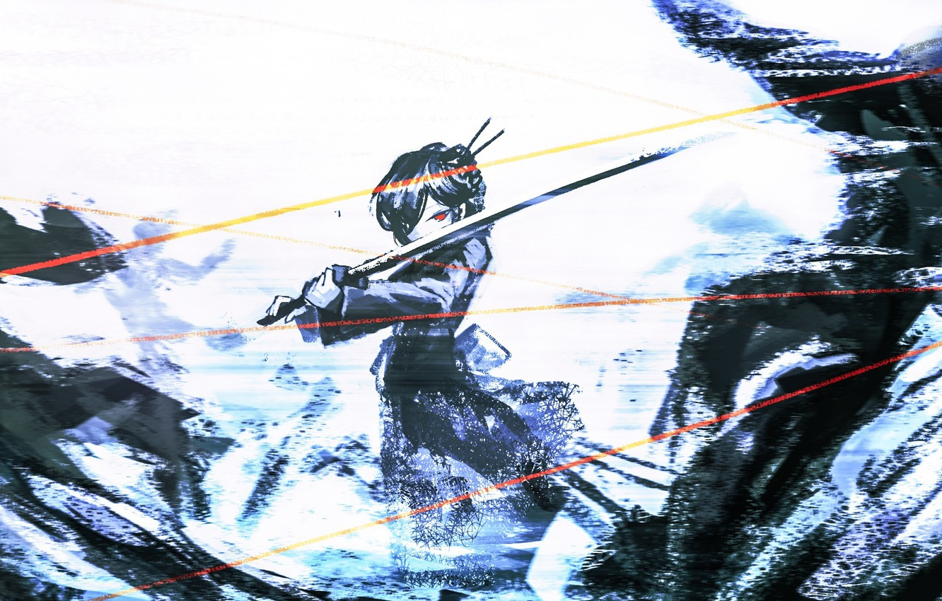 Photo wallpaper girl, abstraction, sword, art, Zhao-P, by Zhao-P