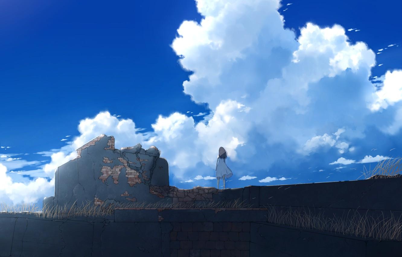 Photo wallpaper the sky, girl, the ruins