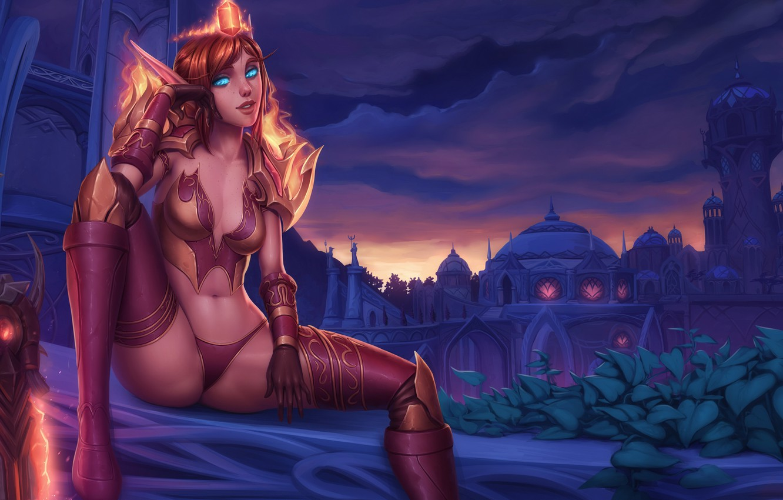 Photo wallpaper girl, sexy, sword, blue eyes, sitting