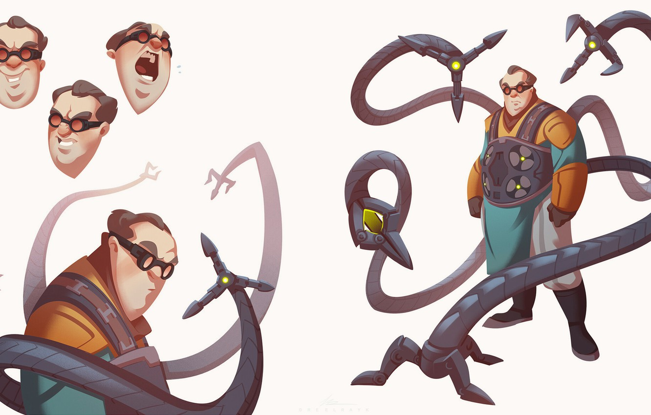 Photo wallpaper Minimalism, glasses, tentacles, Costume, Marvel, Spider-man, glasses, Comics, Suit, scientist, Spider-Man, Doctor Octopus, Minimalism, Marvel, …