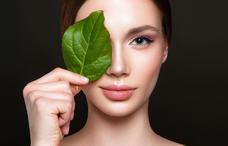 Photo wallpaper green, green eyes, nude, look