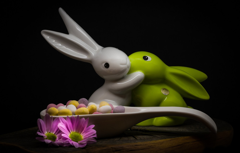 Photo wallpaper flowers, style, eggs, Easter, spoon, rabbits, figurine, black background, chrysanthemum