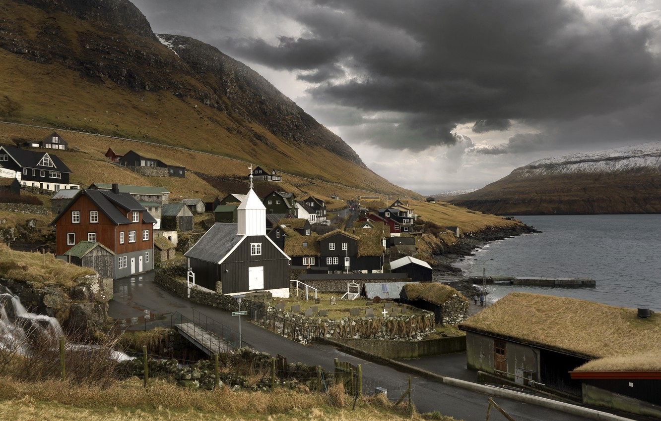Photo wallpaper road, shore, Bour, Faroe islands