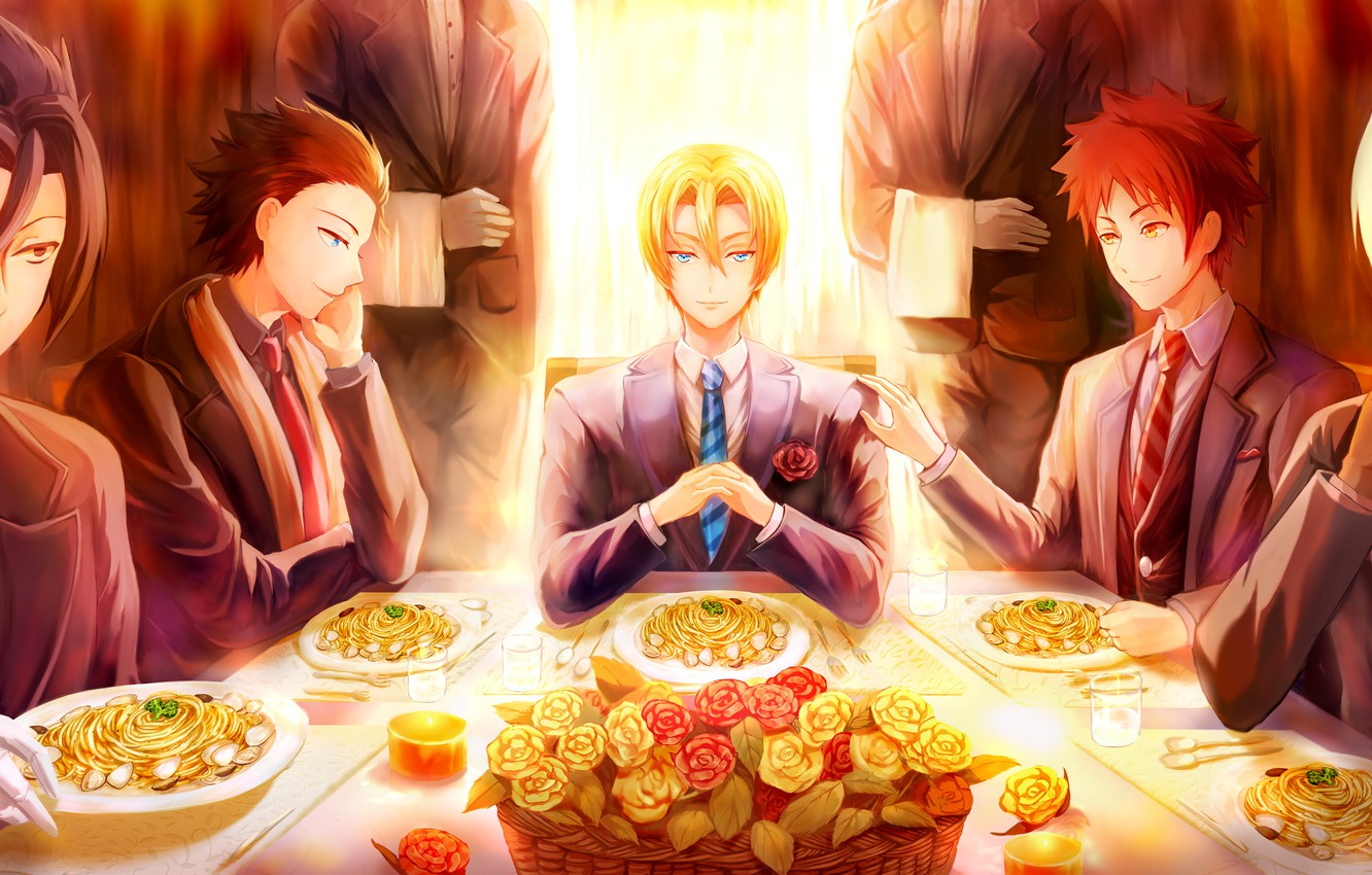 Photo wallpaper table, roses, guys, serving, In the search for the divine recipe, Shokugeki No Soma