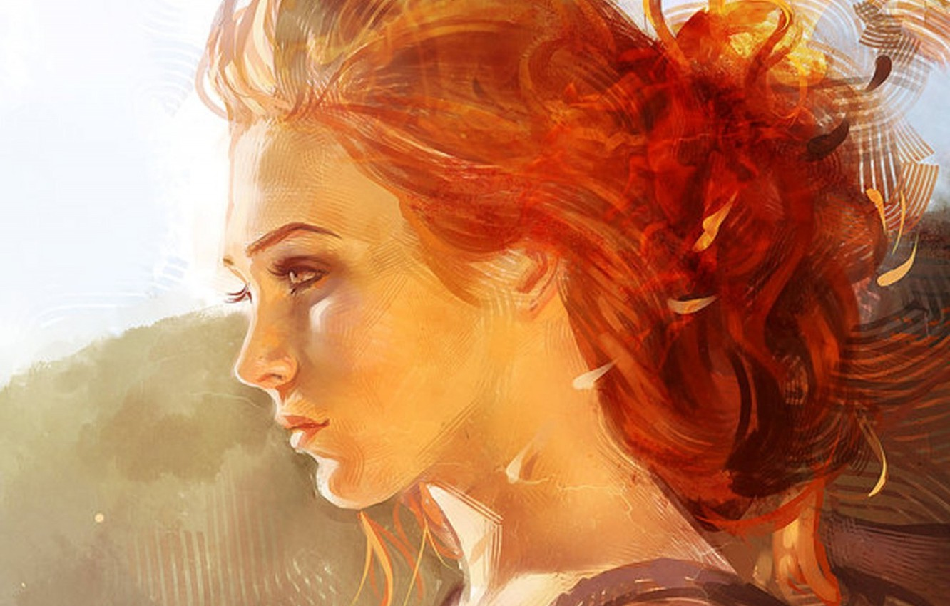 Photo wallpaper face, red hair, in profile, portrait of a girl, neck shoulders