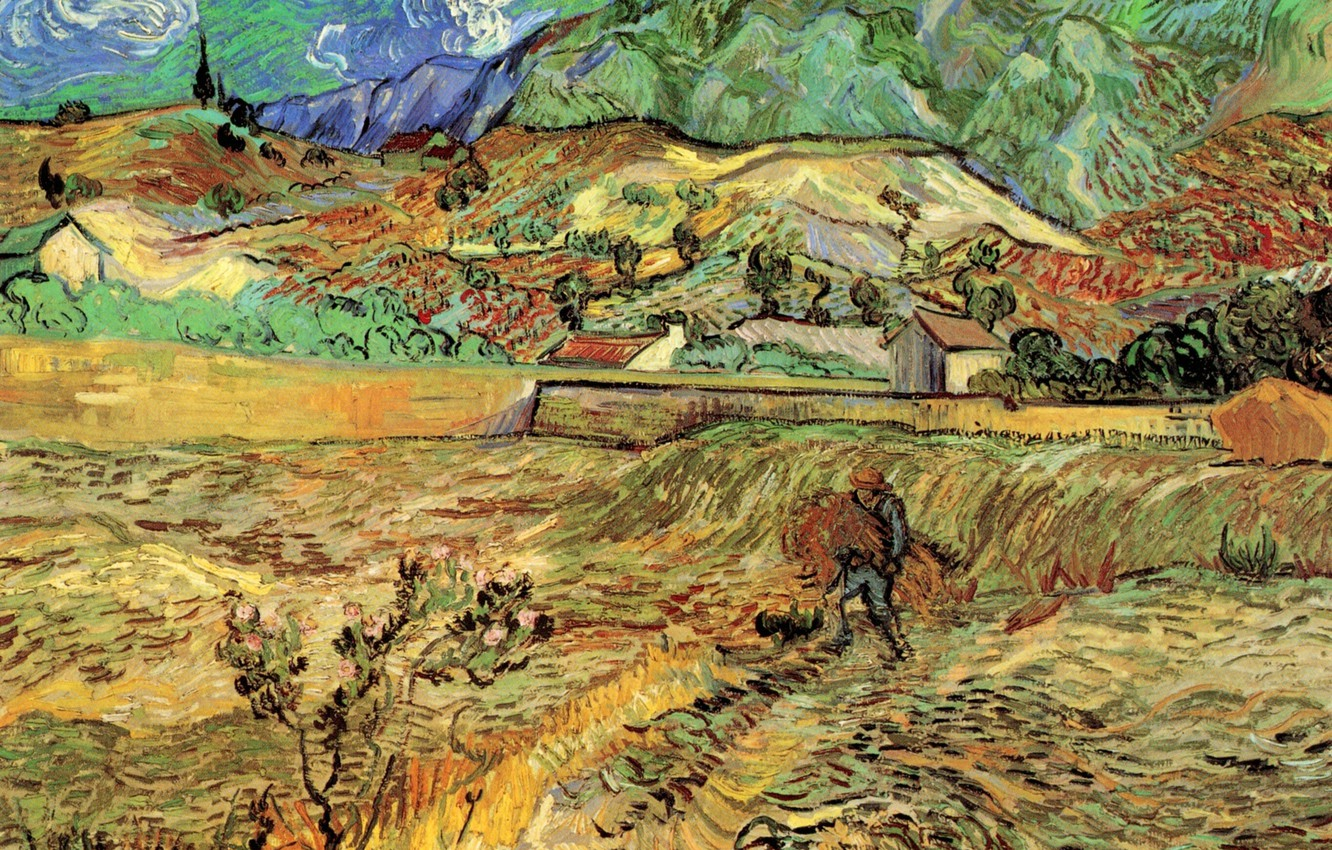 Photo wallpaper Vincent van Gogh, Field with Peasant, the man in the garden, Enclosed Wheat