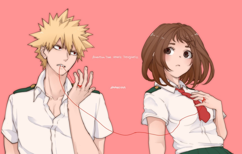 Photo wallpaper girl, guy, red thread, Boku no Hero Academy, My heroic academia, Bakuga, Ochako