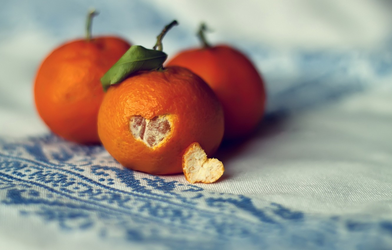 Photo wallpaper leaf, heart, peel, tangerines