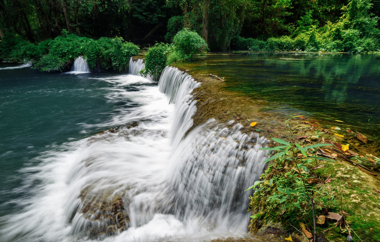 Photo wallpaper forest, landscape, river, rocks, waterfall, summer, forest, tropical, river, landscape, beautiful, waterfall, tropical