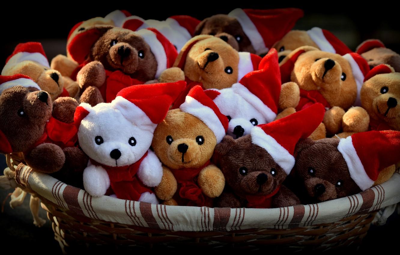 Photo wallpaper light, smile, holiday, basket, new year, bears, team, black background, company, bears, bears, Teddy, a …