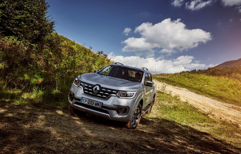 Photo wallpaper road, hill, Renault, pickup, 4x4, 2017, Alaskan, gray-silver