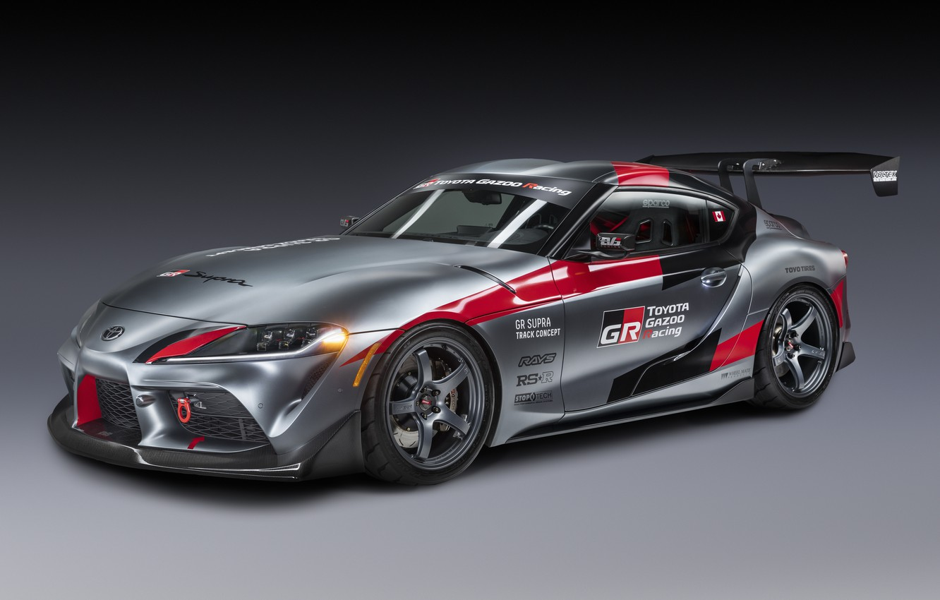 Photo wallpaper auto, grey, background, coupe, Toyota, 2020, GR Supra Track Concept