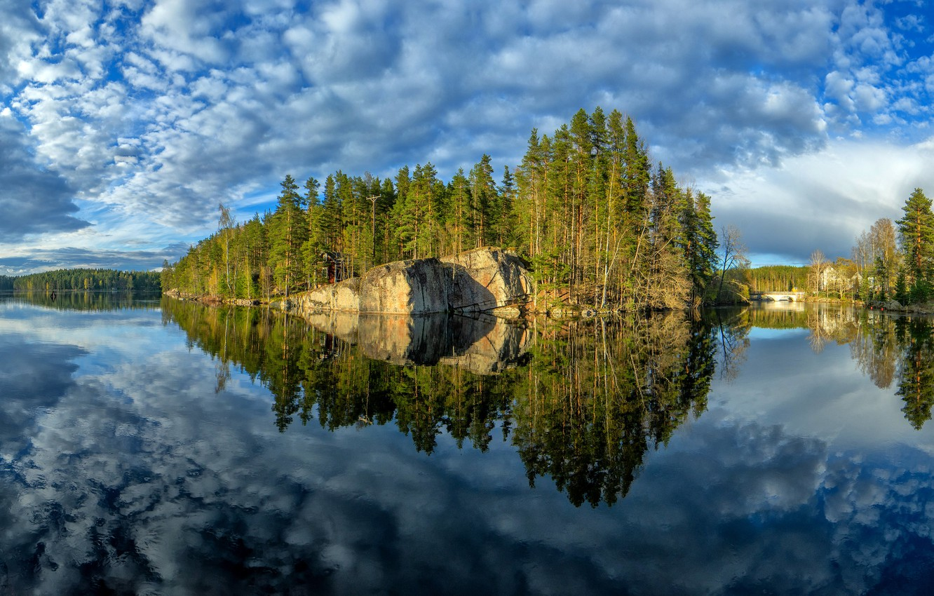 Photo wallpaper trees, lake, reflection, island, Finland, Finland, Kymenlaakso, Woerl, Kymenlaakso, See it
