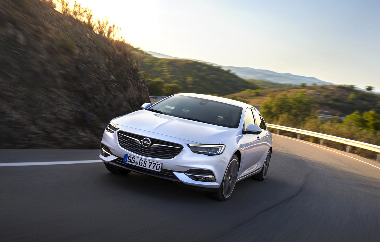 Photo wallpaper road, white, Insignia, Opel, Insignia Grand Sport