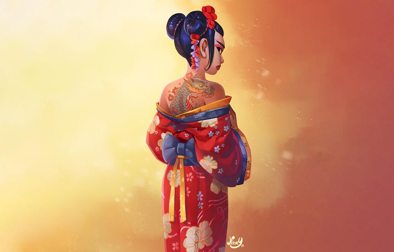 Photo wallpaper Girl, Japan, Fantasy, Dragon, Beautiful, Art, Asian, Style, Fiction, Background, Illustration, Japanese, Kimono, Figure, Character, …