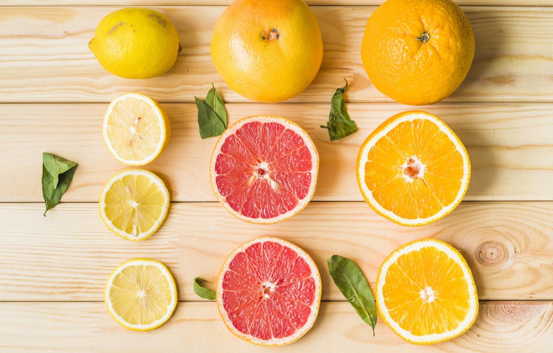 Photo wallpaper lemon, orange, citrus, lemon, wood, grapefruit, orange, grapefruit