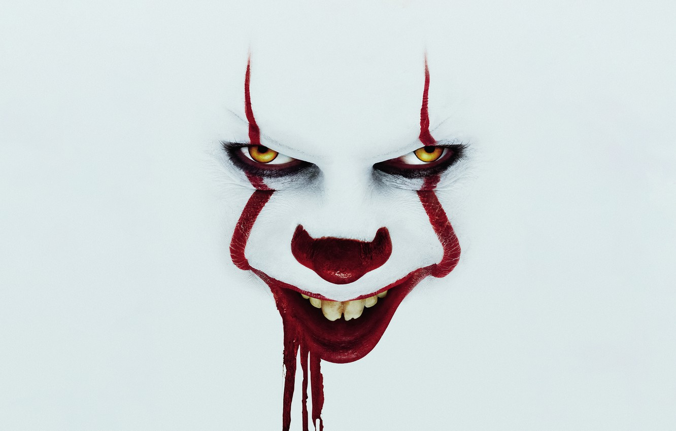 Photo wallpaper Smile, Eyes, year, James McAvoy, Evil, Horror, EXCLUSIVE, Clown, Movie, Bill, Demon, Film, Smiling, Jessica …
